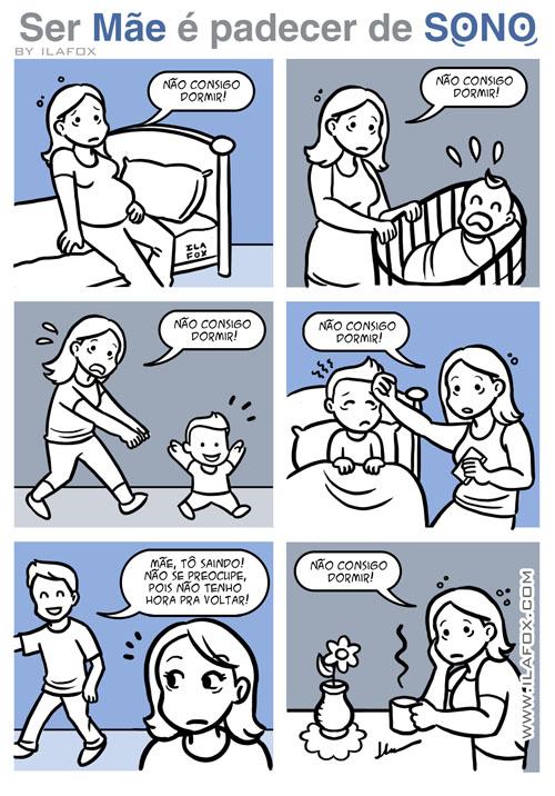 Ser mãe é padecer de sono, quadrinhos, by ila fox