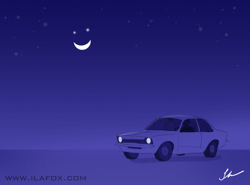 Chevette estacionado esperando a carona a noite com a lua feliz ilustrao by ila fox