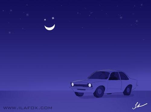 Chevette estacionado esperando a carona a noite com a lua feliz ilustração by ila fox