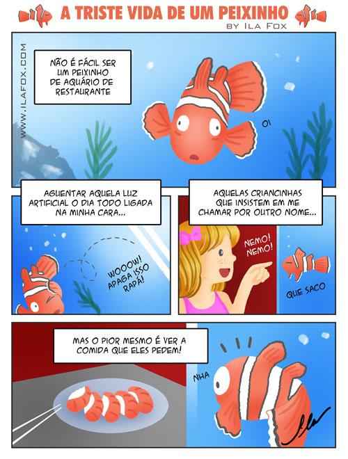 quadrinho, a triste vida de um peixinho by Ila Fox