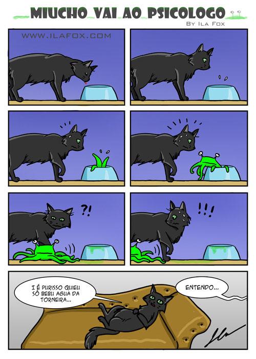 quadrinho, miucho vai ao psicólogo by ila fox