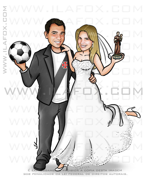caricatura casal,