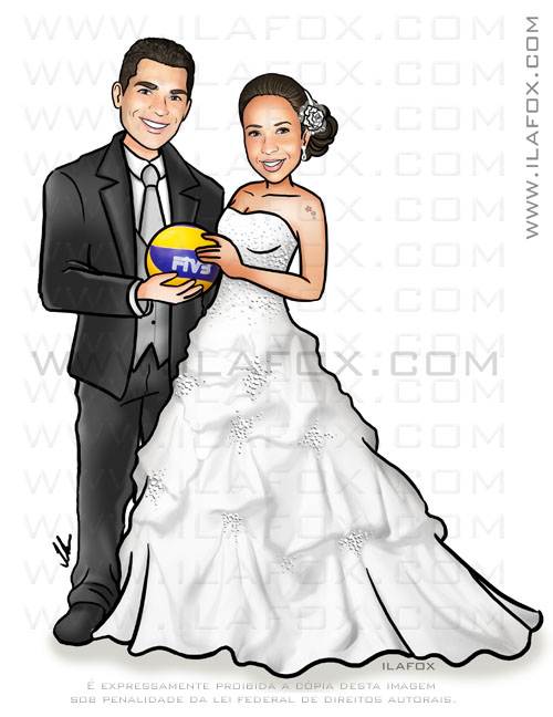 caricatura personalizada, caricatura casal, caricatura noivos, bola vôlei, caricatura noivinhos, by ila fox