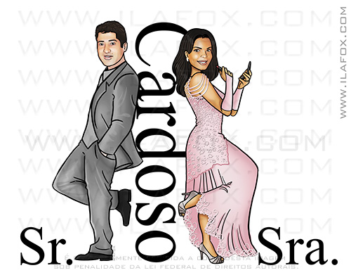caricatura noivos, caricatura casal, caricatura sr e sra smith, caricatura bonita, caricatura casamento, caricatura para casais, by ila fox