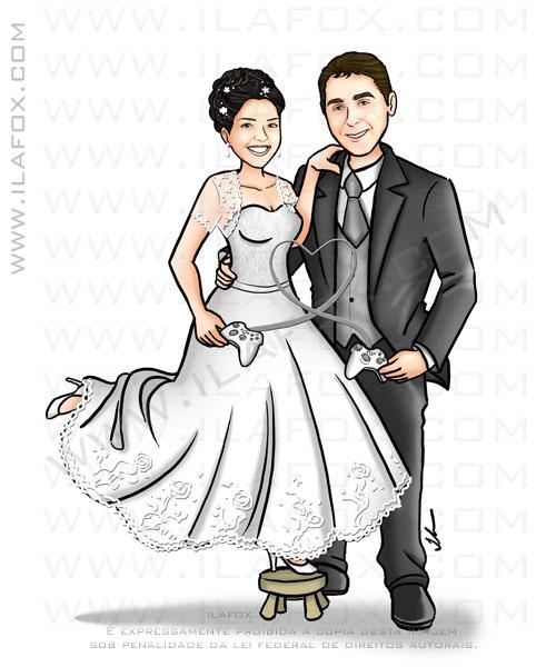 Caricatura casal, caricatura noivinhos, caricatura para casamento, by ila fox
