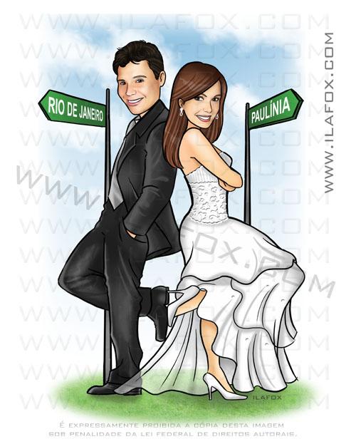 caricatura casal, caricatura noivos, caricatura sr e sra smith, caricatura para casamentos by ila fox