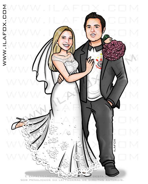 caricatura dos noivos, caricatura sem exagero, caricatura de noivos, caricatura bonita, by ila fox