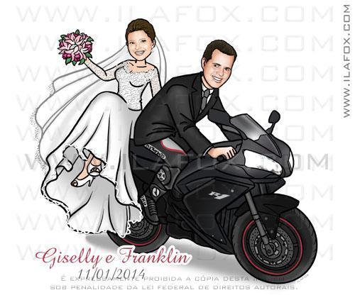caricatura casal, caricatura noivinhos na moto, caricatura personalizada, caricatura bonita, R1 Yamanha, by ila fox