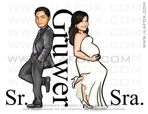 caricatura casal, caricatura noivos, sr e sra smith, noiva grávida, Gruwer, by ila fox