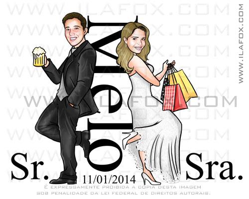 caricatura casamento, caricatura noivos, caricatura casal, caricatura sr e sra smith, Melo, caricatura para noivinhos, by ila fox