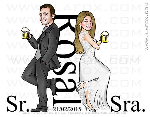 caricatura corpo inteiro, caricatura noivos, caricatura sem exageros, caricatura bonita, caricatura para noivos, ila fox