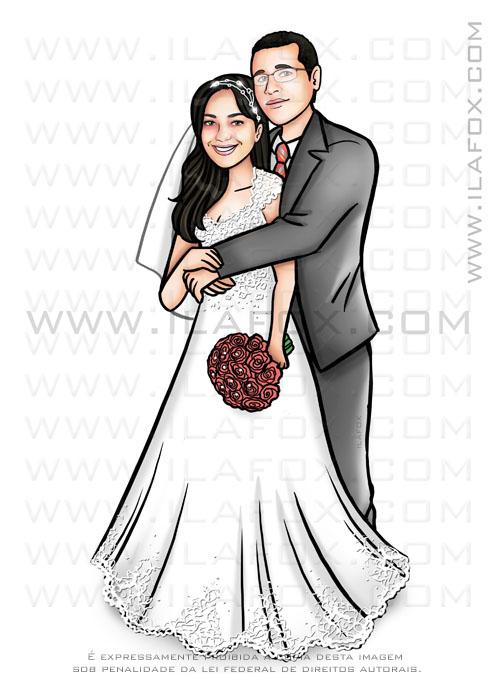 caricatura noivos, caricatura noivinhos, caricatura bonita, caricatura para casamentos, by ila fox