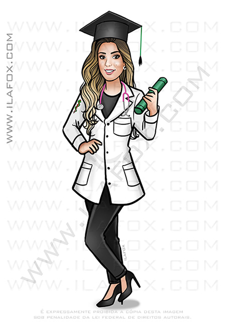 caricatura formatura, caricatura formanda, caricatura jaleco, caricatura personalizada, caricatura medicina, by ila fox