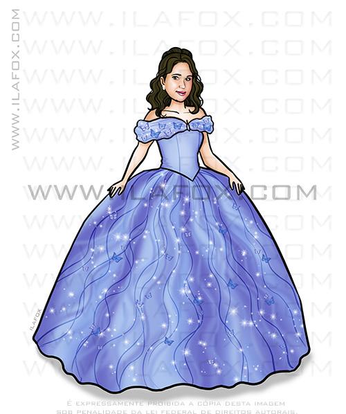 caricatura linda, caricatura princesa, caricatura personalizada, caricatura presente, caricatura cinderela, by ila fox