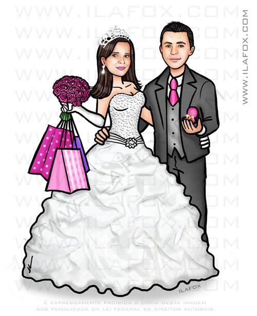 caricatura pedido noivado, caricatura noivos, caricatura para casamento, caricatura bonita, by ila fox