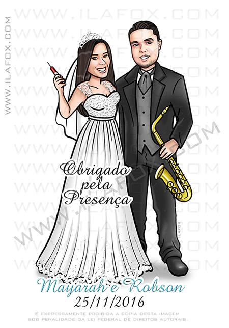 caricatura de noivos, caricatura bonita, caricatura sem exagero, caricatura saxofone, caricatura enfermeira, caricatura casal, by ila fox