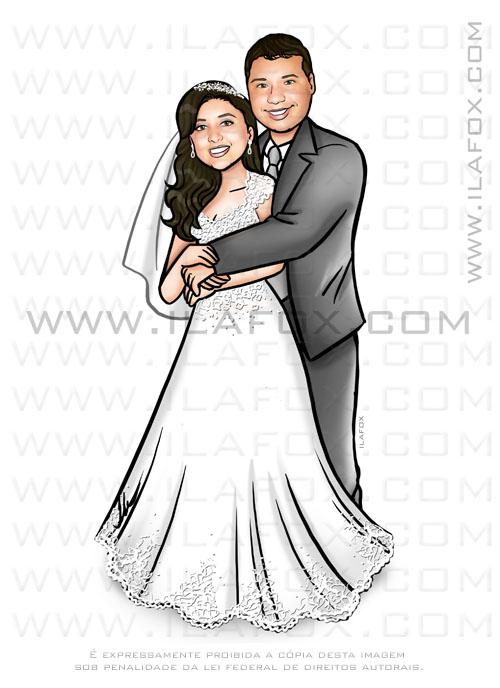 caricatura casal, caricatura noivos, caricatura sem exageros, by ila fox