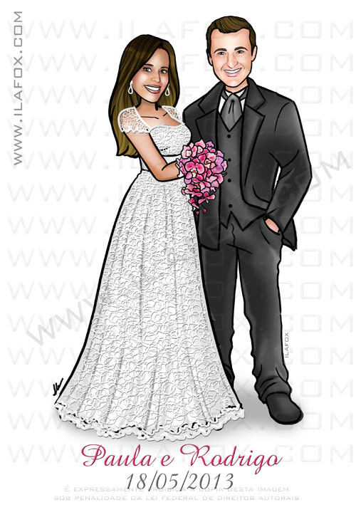 Caricatura casal, caricatura noivos, caricaturas para casamento, by ila fox