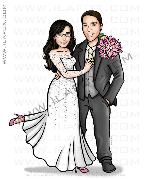 Caricatura proporcional, caricatura elegante, caricatura bonita, caricatura noivos, caricatura personalizada para casamento, by ila fox