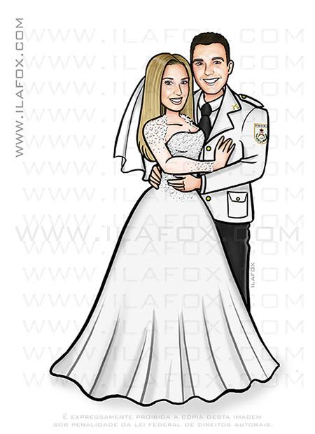caricatura noivos, caricatura bonita, caricatura casamento, caricatura personalizada, caricatura noivo farda, fardado, by ila fox
