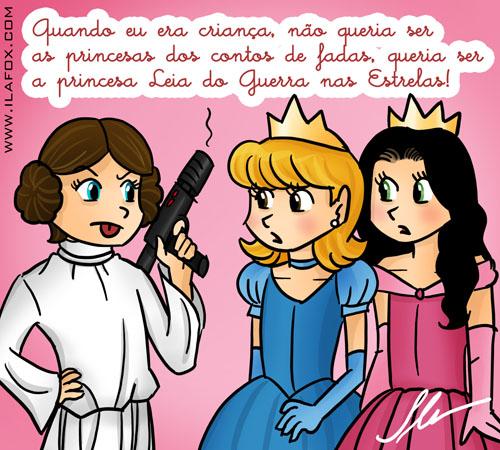 quando eu era criança, não queria ser as princesas dos contos de fadas, queria ser a princesa Leia do Guerra nas Estrelas - ilustração by Ila Fox