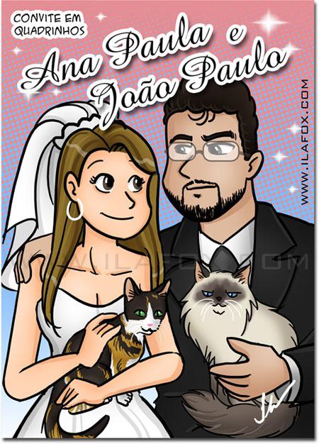 Retrato divertido para capa do convite em quadrinhos, noivos, mangá, ila fox