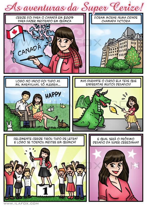 História em quadrinhos personalizada, presente de aniversario original, Cerize, Canadá, University of Victoria, by ila fox