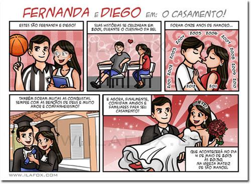 Convite em quadrinhos, convite personalizado, convite original para noivos, by ila fox