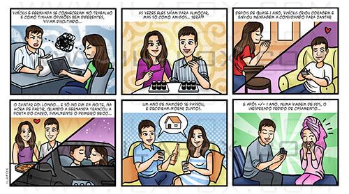 convite em quadrinhos, convite personalizado, convite história casal, convite original, by ila fox
