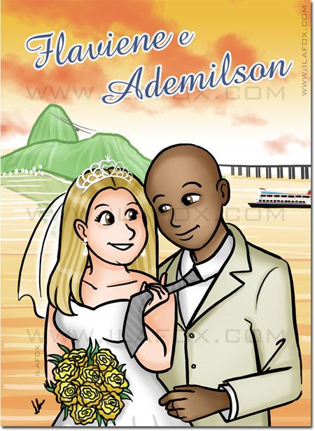 Convite em quadrinhos, convite personalizado, convite história casal, by ila fox
