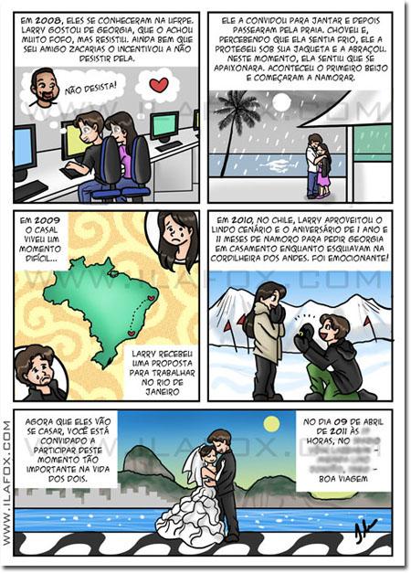 Convite em quadrinhos personalizado, noivos, casal, história casal, Georgia e Larry, Recife - Pernambuco, Rio de Janeiro, by Ila Fox
