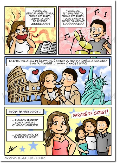 Convite em quadrinhos personalizados, original, aniversário 15 anos, Belo Horizonte, by Ila Fox