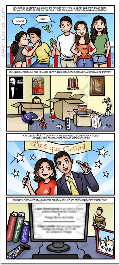 convite em quadrinhos, quadrinhos personalizados, historia noivos, by ila fox