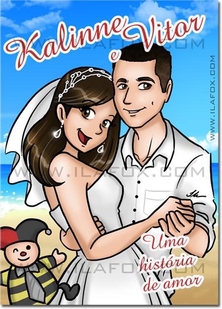 Convite em quadrinhos personalizado, história do casal, convite com história em quadrinhos, convite original, by ila fox