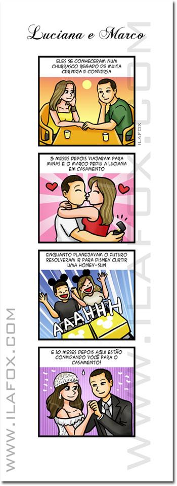 Convite em quadrinhos, história personalizada casamento, by ila fox
