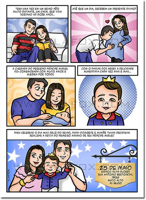 quadrinhos personalizados, quadrinhos infantil, quadrinhos história, convite em quadrinhos, by ila fox