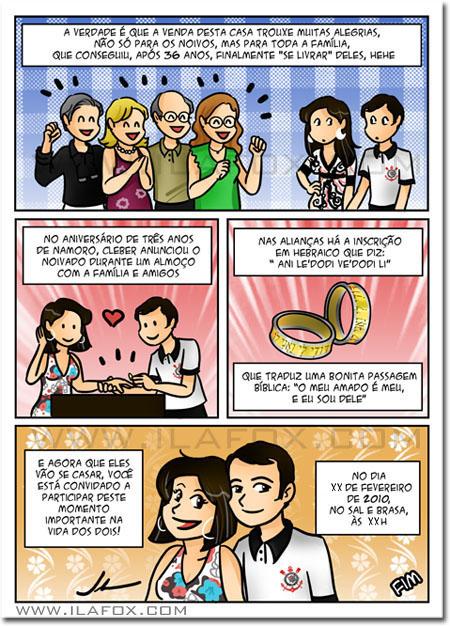 convite em história em quadrinhos personalizados para casamento, Natal - Rio Grande do Norte by ila fox