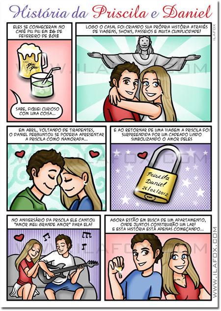 Quadrinhos personalizado, presente original, aniversário namoro, by ila fox