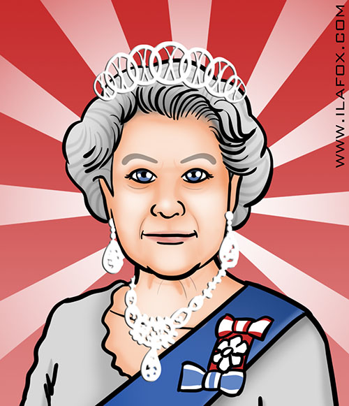 Queen Elizabeth II, Rainha ELizabeth II, retrato, by ila fox