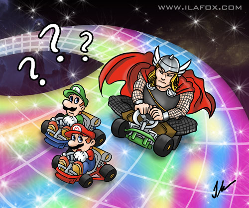 Ilustração Rainbow Road Mario Kart Thor Bifrost