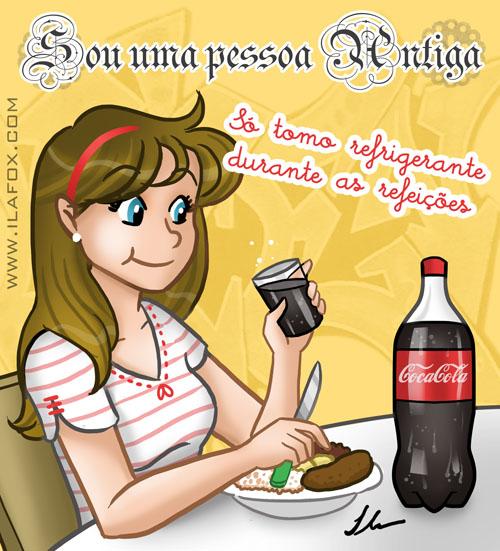 Eu só tomo refrigerante durante as refeições, ilustração by ila fox