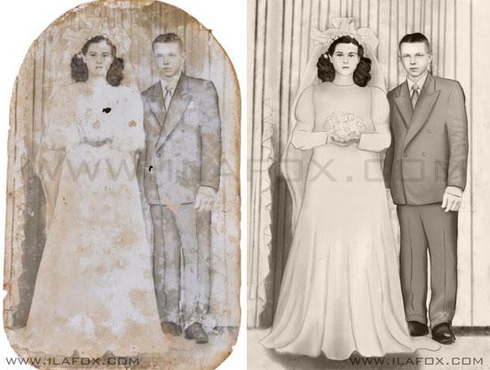 restaruação fotografias antigas, digital, casal, casamento, by ila fox