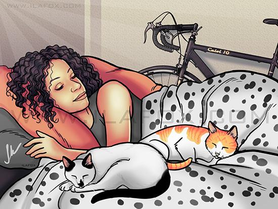 retrato clássico, retrato mulher dormindo, retrato cama, retrato gatos, retrato mulher dormindo com gatos, retrato by ila fox