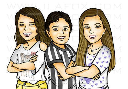 retrato infantil, retrato família, retrato desenho, retrato personalizado, retrato digital, retrato para presente, by ila fox