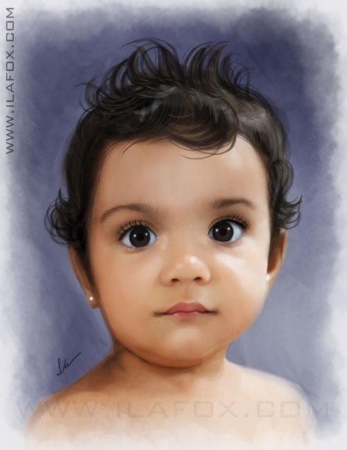 Retrato, realista, infantil, encomenda, efeito pintura, bebê, by ila fox