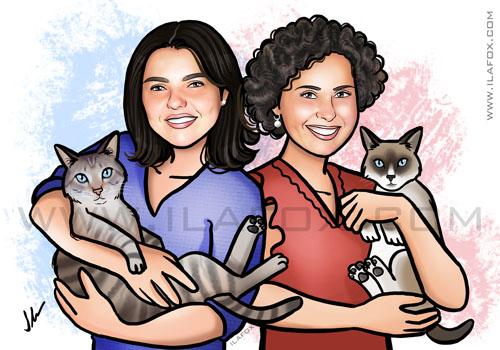 retrato família, gatos, casal, retrato família homoafetiva, família com gatos