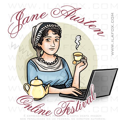 Retrato Jane Austen, festival, ilustração, ilustração personalizada, mascote, by ila fox