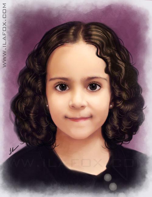 Retrato, realista, infantil, encomenda, efeito pintura, menina de cabelos enrolados, by ila fox