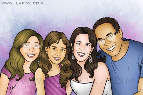 Retrato família, desenho de família, by ila fox