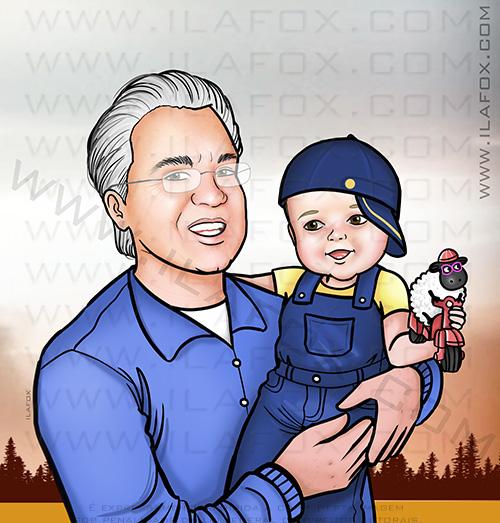 caricatura avô e neto, retrato avô e neto, retrato família, presente familiar, presente original, by ila fox